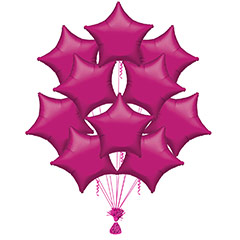 Ramo 10 globos metálicos forma estrella fucsia