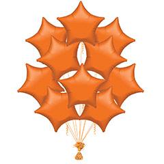 Ramo 10 globos metálicos forma estrella naranja