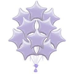 Ramo 10 globos metálicos forma estrella morada