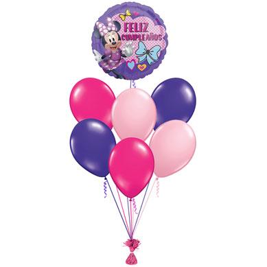 Ramo de Globo Minnie Mouse Feliz Cumpleaños