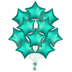 Ramo 10 globos metálicos forma estrella Verde Satín