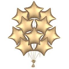 Ramo 10 globos metálicos forma estrella Dorada Satín