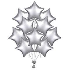 Ramo 10 globos metálicos forma estrella Plata Satín