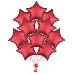 Ramo 10 globos metálicos forma estrella Rojo Satín