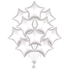 Ramo 10 globos metálicos forma estrella Blanca Satín