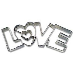 Cortadores de galletas con forma letras LOVE, Set 4 u.