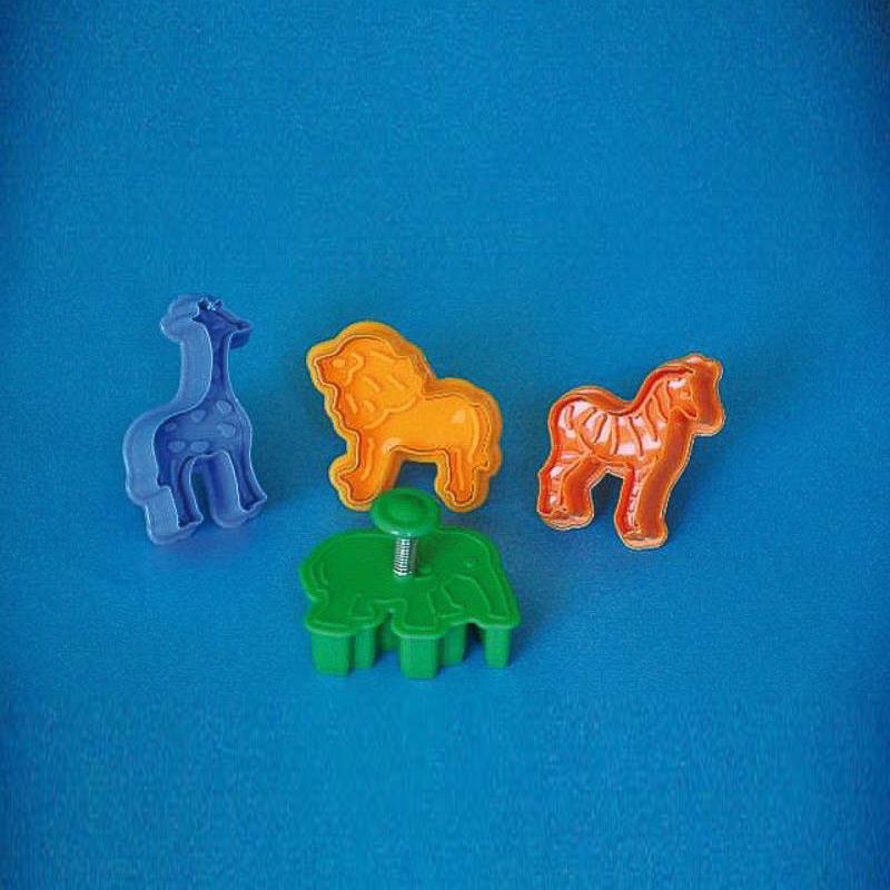 Cortadores galletas formas animales jungla con expulsor, Set 4 u.