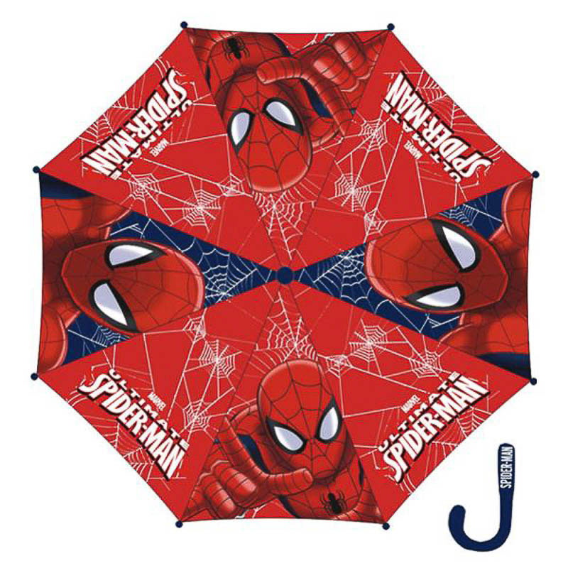 Paraguas Spiderman tela mango azul