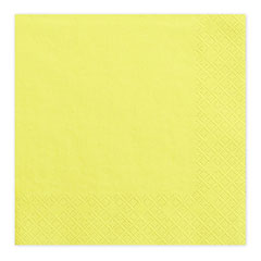 Servilletas lisas amarillo suave 33 x 33 cm, Pack 20 u.
