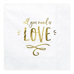Servilletas All you need is LOVE 33 x 33 cm, Pack 20 u.