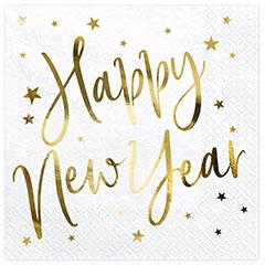 Servilletas Happy New Year 33 x 33 cm, Pack 16 u.