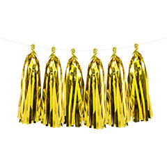 Guirnalda 12 borlas con flecos color oro