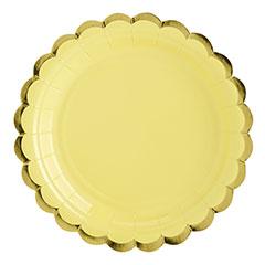 Platos amarillo suave borde dorado 18 cm, Pack 6 u.