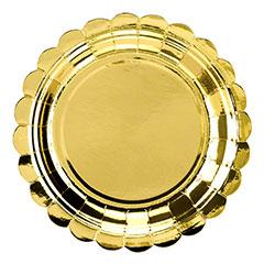 Platos dorados con forma borde dorado 18 cm, Pack 6 u.