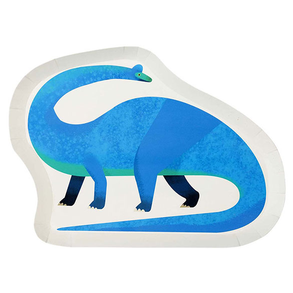 Platos con forma de Dinosaurio 25 x 20 cm., Pack 12 u.