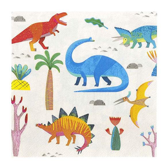 Servilletas Dinosaurios 33 x 33 cm, Pack 20 u.