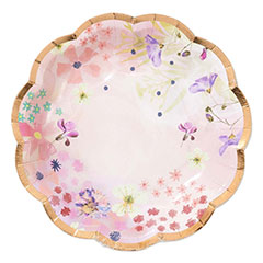 Platos flores borde oro rosa18,50 cm, Pack 12 u.