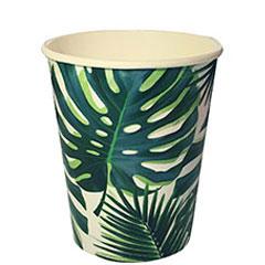 Vasos Hojas Tropicales 250 ml, Pack 8 u.