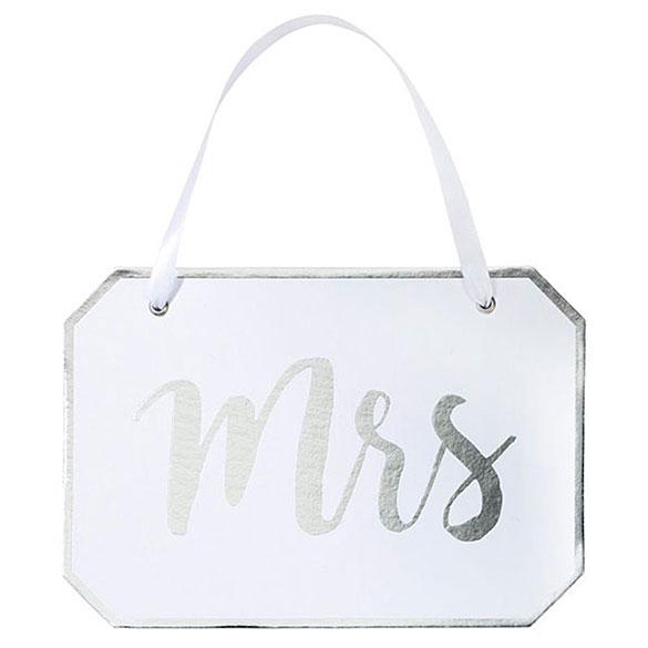 Cartel Mrs de cartón. Decoración de Bodas