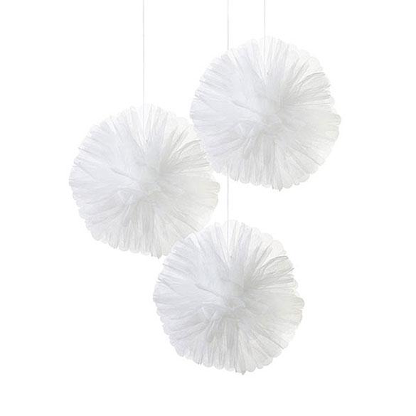 Pompones de tull blancos, 3 u