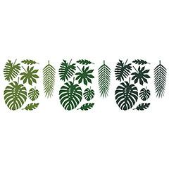 Decoración hojas Tropicales 7 modelos, Pack 21 u.