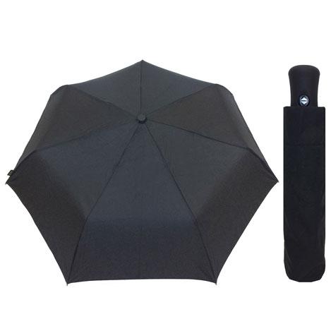 Paraguas automático plegable negro mango recto de caucho
