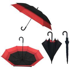 Paraguas doble automático negro y rojo