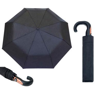 Paraguas automático, apertura y cierre, plegable negro mango curvo de madera