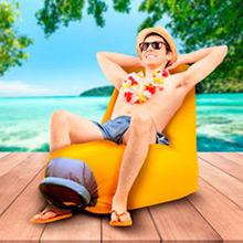 Sillón de playa o piscina inflable naranja - Ítem1