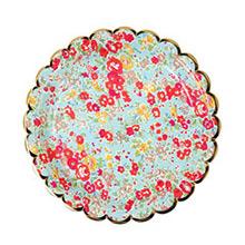 Platos Liberty flores borde Dorado 18,00 cm, Pack 8 u. - Ítem1