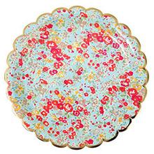 Platos Liberty flores borde Dorado 23,00 cm, Pack 8 u. - Ítem1