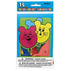 Globos de Látex forma ratoncitos colores surtidos. Pack 15 u.