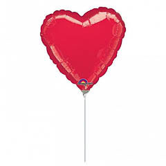 Globo Corazón rojo con palo