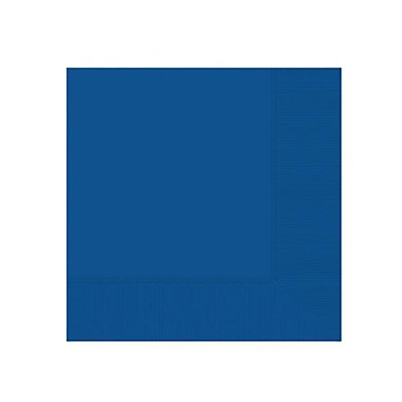 Servilletas lisas azules 25 x 25 cm, Pack 20 u.