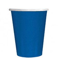 Vasos Azules cartón encerado 266 ml, Pack 8 u.