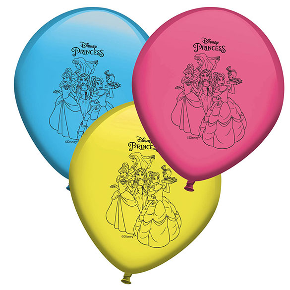 Globos Látex Princesas Disney colores surtidos. Pack 8 u.