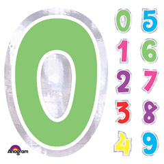 Número adhesiva de colores variados, de 6 cm de alto.