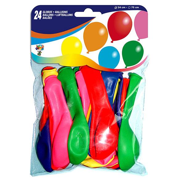 Globos de Látex colores surtidos. Pack 24 u.