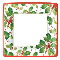 Platos Acebo Navidad cuadrados 26 cm, Pack 8 u.
