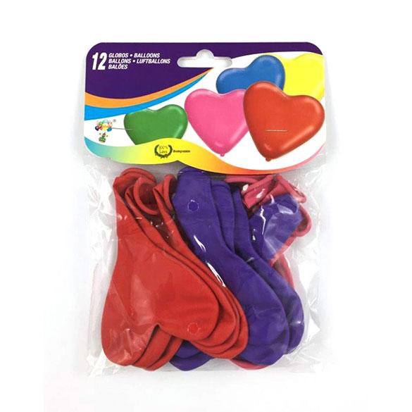 Globos de Látex forma corazón 3 colores. Pack 12 u.