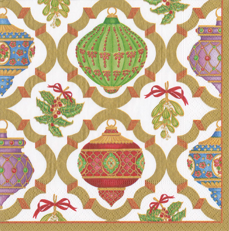 Servilletas Ornamentos Navidad 40 x 40 cm, Pack 20 u.