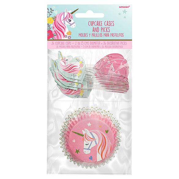 Cápsulas y decoración cupcakes Unicornio, Pack 48 u.