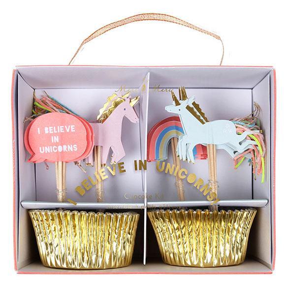 Cápsulas y decoración cupcakes Unicornios, Pack 24 u.