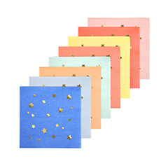 Servilletas color pastel estrellas 12,5 x 12,5 cm, Pack 16 u.