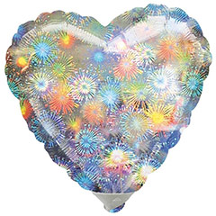 Globo corazón holográfico fuegos artificiales