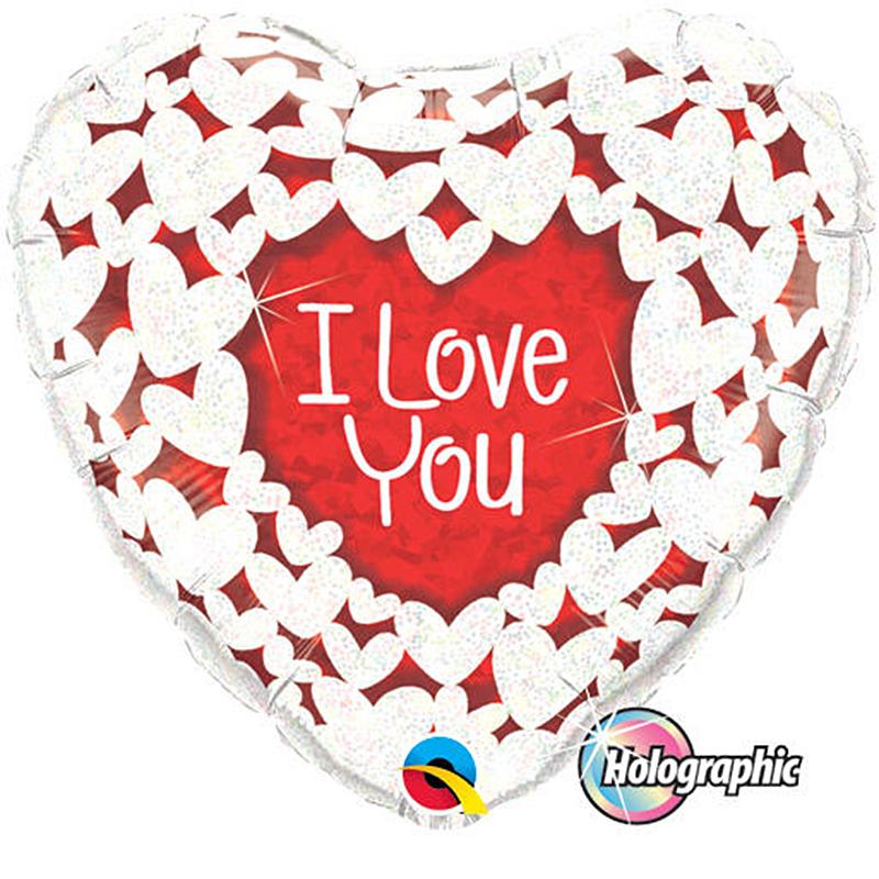 Globo corazón rojo I Love You, con corazones blancos holográficos
