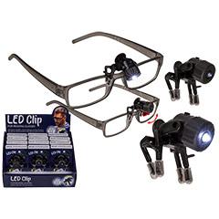 Linterna LED con clip para gafas