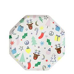 Platos Navidad infantil 18,50 cm, Pack 8 u.