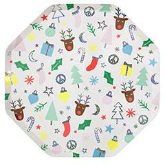Platos Navidad infantil 25,60 cm, Pack 8 u.