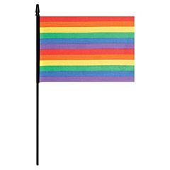 Bandera arco iris con palo 24,00 x 14,50 cm